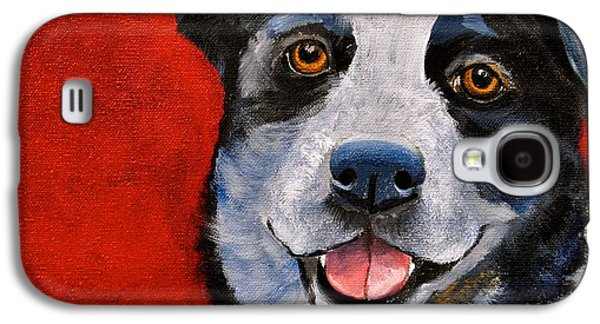 Cattle Dog Paintings Galaxy S4 Cases - Blue  Galaxy S4 Case by Debi Starr
