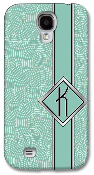 Woman Gift Galaxy S4 Cases - Blue Deco Jazz Swing Monogram ...letter K Galaxy S4 Case by Cecely Bloom