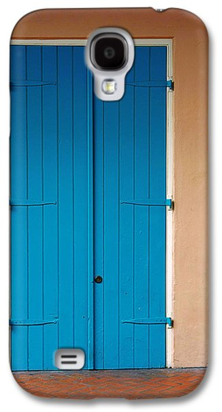 Tiled Galaxy S4 Cases - Blue Door in New Orleans Galaxy S4 Case by Christine Till