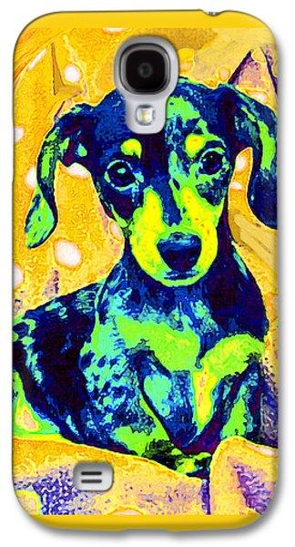 Dachshund Digital Galaxy S4 Cases - Blue Doxie Galaxy S4 Case by Jane Schnetlage
