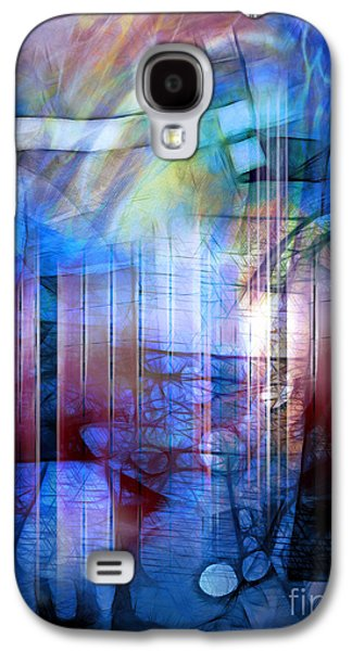 Best Sellers -  - Abstract Digital Mixed Media Galaxy S4 Cases - Blue Drama Galaxy S4 Case by Artwork Studio