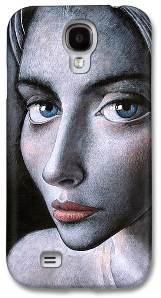 Faces Paintings Galaxy S4 Cases - Blue eyes Galaxy S4 Case by Ipalbus Art