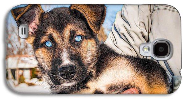 Puppies Digital Art Galaxy S4 Cases - Blue eyes Galaxy S4 Case by Michel Emery
