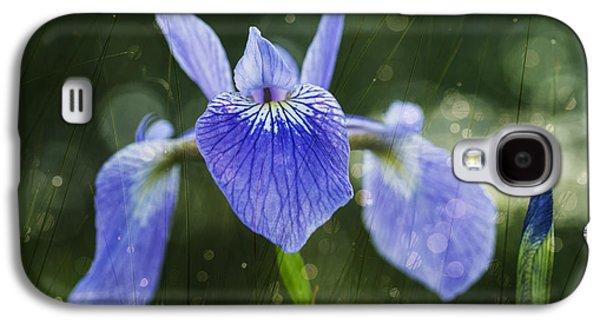 Close Focus Nature Scene Galaxy S4 Cases - Blue Flag Iris _iris Versicolor__ Galaxy S4 Case by Julie DeRoche
