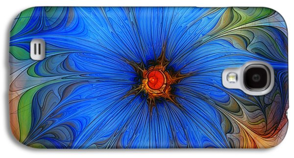 Mathematical Design Galaxy S4 Cases - Blue Flower Dressed For Summer Galaxy S4 Case by Karin Kuhlmann