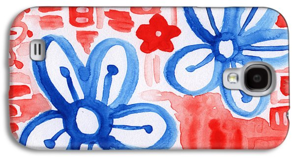 Blue Mixed Media Galaxy S4 Cases - Blue Flowers- floral painting Galaxy S4 Case by Linda Woods