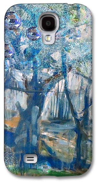 Mystical Landscape Mixed Media Galaxy S4 Cases - Blue Glass Bead Tree Galaxy S4 Case by John Fish