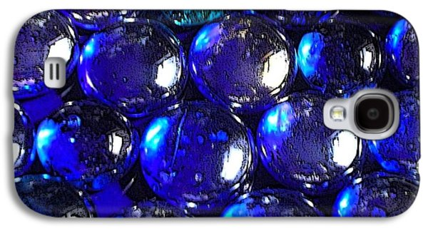 Still Life Glass Art Galaxy S4 Cases - Blue Glass Pebbles Galaxy S4 Case by Joan-Violet Stretch