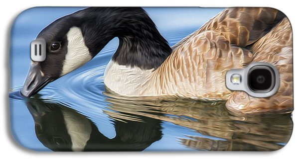 Geese Digital Art Galaxy S4 Cases - Blue Goose Reflecting Galaxy S4 Case by Bill Tiepelman