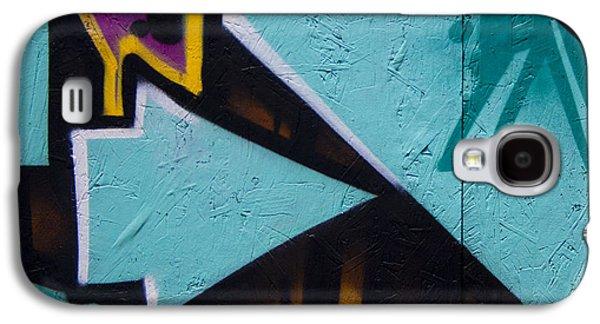 Mural Photographs Galaxy S4 Cases - Blue Graffiti Arrow Square Galaxy S4 Case by Carol Leigh