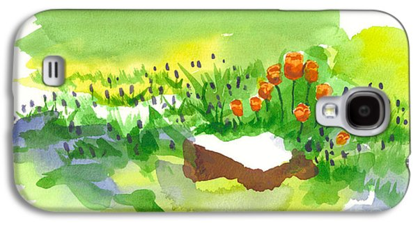 Early Spring Paintings Galaxy S4 Cases - Blue Grape Hyacinths with Red Tulips and Tree Stump Galaxy S4 Case by Kip DeVore