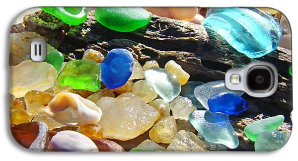 Agate Beach Galaxy S4 Cases - Blue Green Seaglass art prinst Agates Shells Galaxy S4 Case by Baslee Troutman