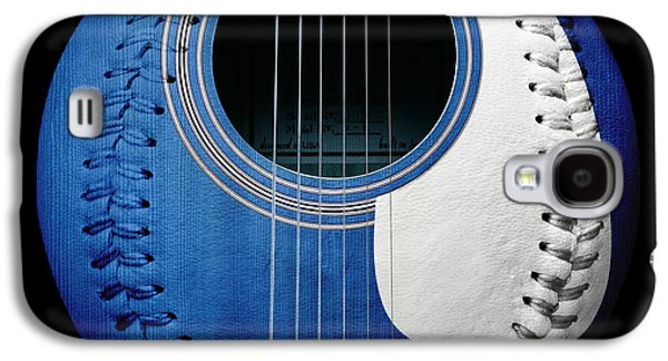 Baseball Galaxy S4 Cases - Blue Guitar Baseball White Laces Square Galaxy S4 Case by Andee Design
