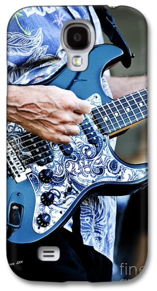 Celebrities Pyrography Galaxy S4 Cases - Blue Guitar Galaxy S4 Case by Jim  Calarese