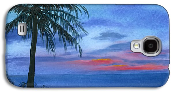 Plans Paintings Galaxy S4 Cases - Blue Hawaiian Sunset Galaxy S4 Case by Cecilia  Brendel