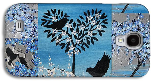 Catherine White Mixed Media Galaxy S4 Cases - Blue Heart Tree Galaxy S4 Case by Cathy Jacobs