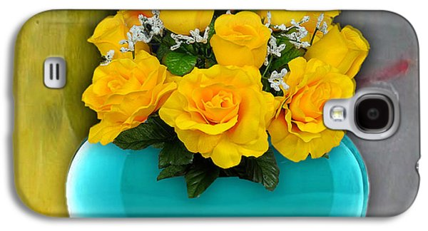 Hearts Galaxy S4 Cases - Blue Heart Vase with Yellow Roses Galaxy S4 Case by Marvin Blaine