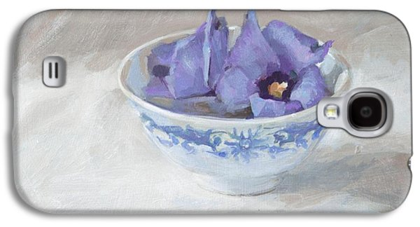 """""""indoor"""" Still Life Paintings Galaxy S4 Cases - Blue hibiscus flower in chinese cup Galaxy S4 Case by Anke Classen"""