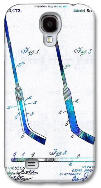 Sports Drawings Galaxy S4 Cases - Blue Hockey Stick Art Patent - Sharon Cummings Galaxy S4 Case by Sharon Cummings