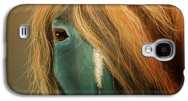 Orange Pastels Galaxy S4 Cases - Blue Horse Galaxy S4 Case by Heather Gessell