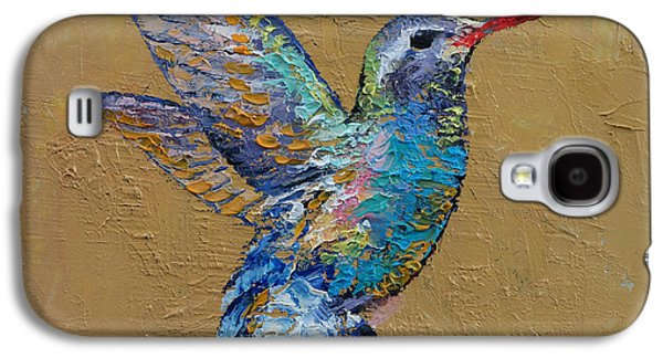 Earth Tones Paintings Galaxy S4 Cases - Turquoise Hummingbird Galaxy S4 Case by Michael Creese