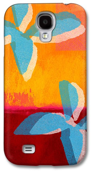 Colorful Abstract Galaxy S4 Cases - Blue Jasmine Galaxy S4 Case by Linda Woods