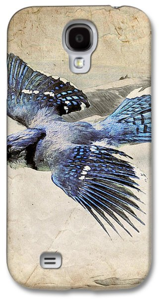 Ray Downing Galaxy S4 Cases - Blue Jay in Flight Galaxy S4 Case by Ray Downing