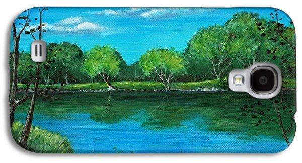Nature Scene Drawings Galaxy S4 Cases - Blue Lake Galaxy S4 Case by Anastasiya Malakhova