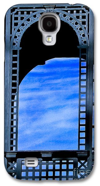 Original Art Photographs Galaxy S4 Cases - Blue Lattice Work Window Galaxy S4 Case by Colleen Kammerer