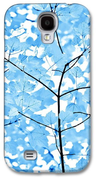 Abstract Nature Galaxy S4 Cases - Blue Leaves Melody Galaxy S4 Case by Jennie Marie Schell
