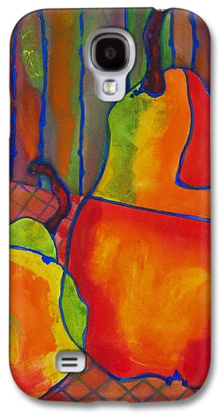 Artistic Paintings Galaxy S4 Cases - Blue Line Pears Galaxy S4 Case by Blenda Studio