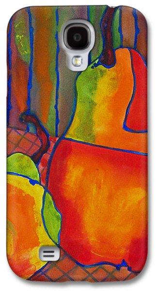 Pear Art Galaxy S4 Cases - Blue Line Pears Galaxy S4 Case by Blenda Studio