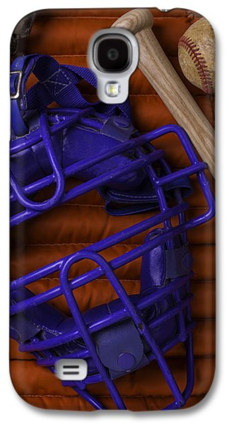 Sports Photographs Galaxy S4 Cases - Blue Mask With Bat And Ball Galaxy S4 Case by Garry Gay