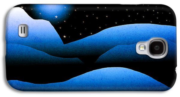 Snow-covered Landscape Digital Art Galaxy S4 Cases - Blue Moon Mountain Landscape Art Galaxy S4 Case by Christina Rollo