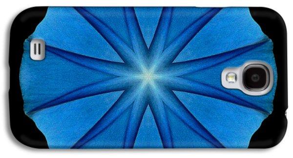 David J Bookbinder Galaxy S4 Cases - Blue Morning Glory Flower Mandala Galaxy S4 Case by David J Bookbinder