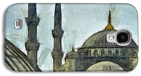 Religious Pastels Galaxy S4 Cases - Blue Mosque drawing Galaxy S4 Case by Antony McAulay