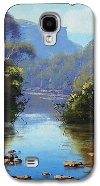 Beautiful Creek Paintings Galaxy S4 Cases - Blue Mountains River Galaxy S4 Case by Graham Gercken