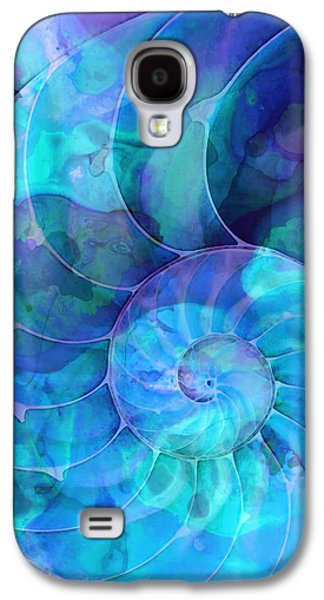 Abstract Canvas Galaxy S4 Cases - Blue Nautilus Shell By Sharon Cummings Galaxy S4 Case by Sharon Cummings