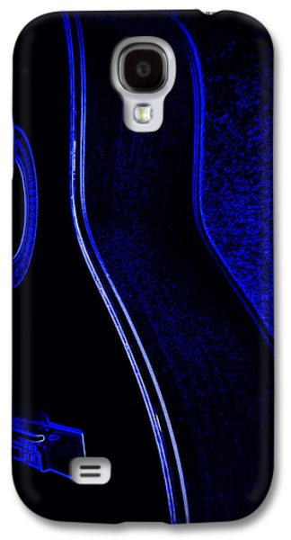 Digital Ceramics Galaxy S4 Cases - Blue Neon Acoustic Guitar Galaxy S4 Case by Laurie Pike
