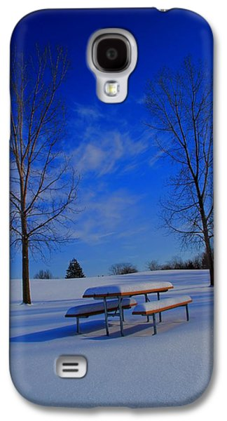 Snowy Day Galaxy S4 Cases - Blue On A Snowy Day Galaxy S4 Case by Dan Sproul