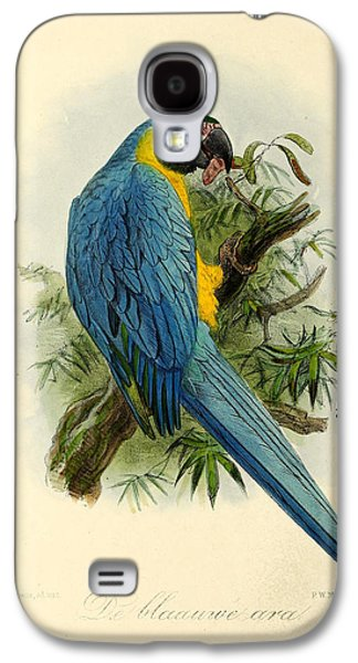 Ornithology Paintings Galaxy S4 Cases - Blue Parrot Galaxy S4 Case by J G Keulemans
