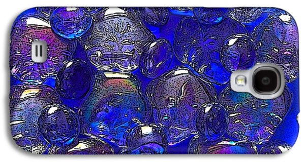 Still Life Glass Art Galaxy S4 Cases - Blue Pebble Flower Galaxy S4 Case by Joan-Violet Stretch