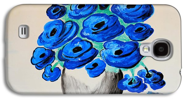 Blue Abstracts Galaxy S4 Cases - Blue Poppies Galaxy S4 Case by Ramona Matei