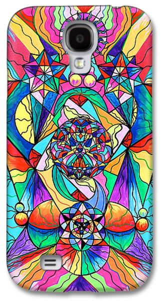 Spirituality Galaxy S4 Cases - Blue Ray Transcendence Grid Galaxy S4 Case by Teal Eye  Print Store