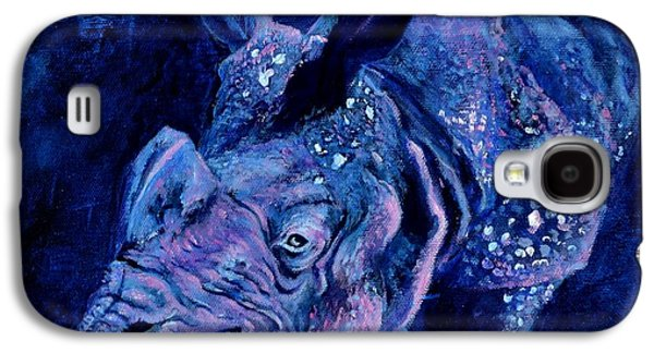 One Horned Rhino Paintings Galaxy S4 Cases - Indian Rhino - Blue Galaxy S4 Case by Paula Noblitt