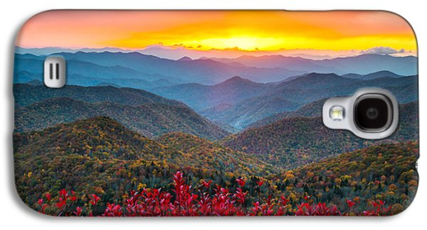 Autumn Landscape Photographs Galaxy S4 Cases - Blue Ridge Parkway Autumn Sunset NC - Rapture Galaxy S4 Case by Dave Allen