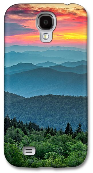 Western Photographs Galaxy S4 Cases - Blue Ridge Parkway Sunset - The Great Blue Yonder Galaxy S4 Case by Dave Allen