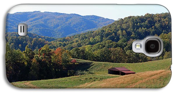 Red Roofed Barn Galaxy S4 Cases - Blue Ridge Scenic Galaxy S4 Case by Suzanne Gaff