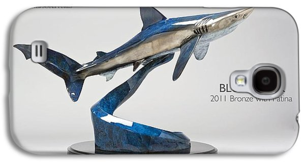 Sharks Sculptures Galaxy S4 Cases - Blue Shark Galaxy S4 Case by Victor Douieb