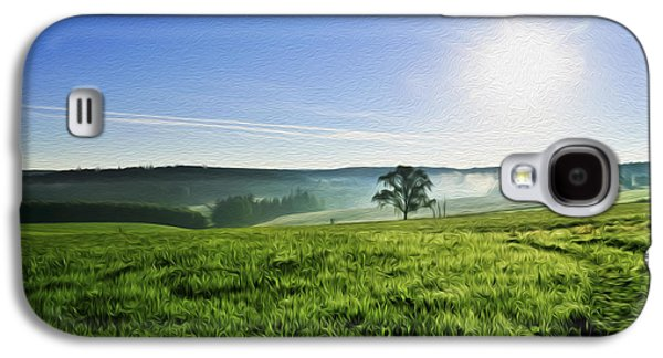 Plains Digital Art Galaxy S4 Cases - Blue Sky and Fields Galaxy S4 Case by Aged Pixel
